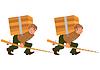 Glücklich Cartoon-Mann, der mit Angelrute und großen