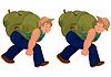 Glücklich Cartoon-Mann zu Fuß mit schwerem Rucksack