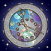 Векторный клипарт: Часы с астрологическими знаками