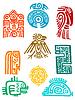 ID 4087432 | Starożytne elementy i symbole Majów | Klipart wektorowy | KLIPARTO