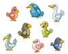 Lustige Comic-Vögel