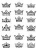 Set aus schwarzen und weißen kaiserliche und königliche Kronen
