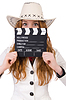 Young cowgirl with movie board | Stock Foto