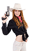 Young cowgirl with handgun | Stock Foto