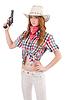 Redhead cowgirl with gun | Stock Foto