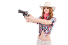 Redhead aiming cowgirl with gun | Stock Foto