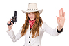 Young stopping cowgirl with gun | Stock Foto
