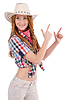 Aiming redhead cowgirl | Stock Foto