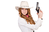 Young cowgirl with gun | Stock Foto