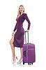 Blonde Vorbereitung für den Urlaub mit Koffer | Stock Photo