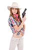 Redhead aiming cowgirl with gun | Stock Foto
