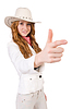 Young aiming cowgirl | Stock Foto