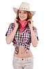 Redhead smiling cowgirl | Stock Foto