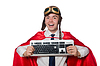 Funny hero with keyboard on white | Stock Foto