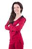 Женщина в красный костюм делает упражнения | Фото
