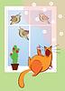 Katze singt mit den Vögeln