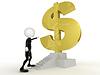 3d Geschäftsmann in der Nähe von Dollar-Zeichen in den Treppen erhalten | Stock Illustration