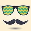 Векторный клипарт: Усы и очки значок