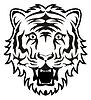 Estilizada cara de tigre blanco y negro | Ilustración vectorial