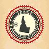 Vintage-Label-Aufkleber Karten von Idaho