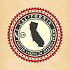 Vintage-Label-Aufkleber Karten von Kalifornien