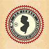 Vintage-Label-Aufkleber Karten von New Jersey