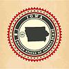 Vintage-Label-Aufkleber Karten von Iowa