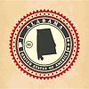 Vintage-Label-Aufkleber Karten von Alabama