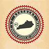 Vintage-Label-Aufkleber Karten von Kentucky