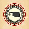 Vintage-Label-Aufkleber Karten von Oklahoma