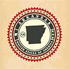 Vintage-Label-Aufkleber Karten von Arkansas