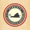 Vintage-Label-Aufkleber Karten von Virginia