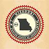 Vintage-Label-Aufkleber Karten von Missouri