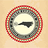 Vintage-Label-Aufkleber Karten von Nord-Carolina