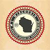 Vintage-Label-Aufkleber Karten von Wisconsin