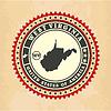 Vintage-Label-Aufkleber Karten von West Virginia