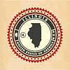 Vintage-Label-Aufkleber Karten von Illinois | Stock Vektrografik