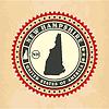 Vintage-Label-Aufkleber Karten von New Hampshire