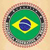 Vintage-Label-Karten von Brasilien-Flagge