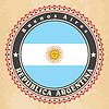 Vintage-Label-Karten von Argentinien-Flagge