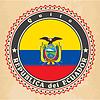 Vintage-Label-Karten von Ecuador-Flagge