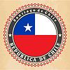 Vintage-Label-Karten von Chile Flagge