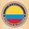 Vintage-Label-Karten von Kolumbien-Flagge