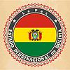 Vintage-Label-Karten von Bolivien Flagge