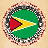 Vintage-Label-Karten von Guyana Flagge