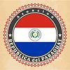 Vintage-Label-Karten von Paraguay-Flagge