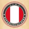 Vintage-Label-Karten von Peru-Flagge
