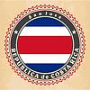 Vintage-Label-Karten von Costa Rica Flagge