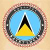 Vintage-Label-Karten Flagge von Saint Lucia