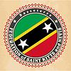 Vintage-Label-Karten von St. Kitts und Nevis-Flagge